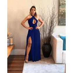 Halter-Sleeveless hohe Taillen-aufgeteiltes langes Maxi Abschlussball-Abend-Kleid der Frauen