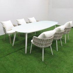 Pátio exterior de vime Lazer Mobiliário de Jardim Mobiliário de Lazer / verga Cadeira de vime e mesa de jantar