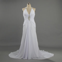 W395女性外装裁判所のトレインの長く軽くて柔らかいホールターの花嫁の服