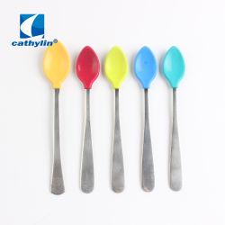 ホームギフトのための多彩なシリコーンの子供のステンレス鋼のスプーン