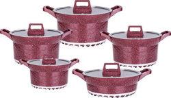 SET DI utensili da cucina in alluminio a risparmio energetico in granito 10 PEZZI con vino rosso Colore