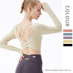 Nouvelle robe pour les femmes de Yoga de conditionnement physique Sweat hygroscopique Couleur Pure tempérament de T-shirt respirable haut élastique vêtements sports pour les femmes