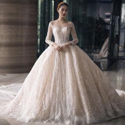 Hwd076 스크린 빅 테일 브라이트 실크스크린 긴팔 백리스 웨딩 드레스 신부