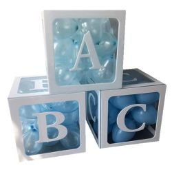 Acrílico Decoração de bebé azul chuveiro caixa de exibição para o bebé brincar