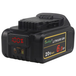 Batteria Dcb200 compatibile 20V 6.0ah massimo del rimontaggio degli attrezzi a motore dello ione del litio con Dewalt Xr con il pacchetto indica della batteria del LED