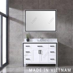 48 pouces Salle de bains en bois massif de la vanité Free-Standing Matt White Cabinet Double lavabo