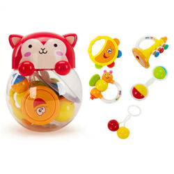 5pcs mono personalizado agitando la mano de plástico pequeño bebé sonajero Campanas musicales juego Juguetes