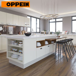 Oppein Large Open Cream White High Gloss Designer Kitchen Cabinet with Island