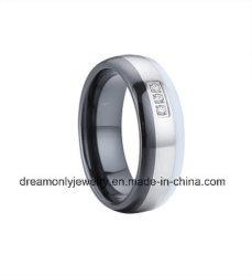 Het witte en Zwarte Ceramische Inlegsel van het Staal van de Ring met Witte Steen