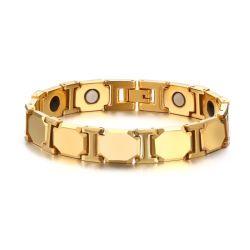 La mode Gold Tungsten Sabona d'énergie magnétique Bracelet en acier