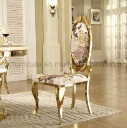Peinture de fleurs de forme ovale de mode retour Golden chaise de salle à manger