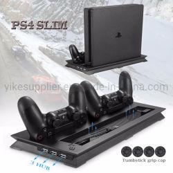 PS4 dimagriscono il dispositivo di raffreddamento verticale del ventilatore del basamento & il bacino di carico del caricatore doppio del USB con il mozzo supplementare 3 per Playstation 4 + 4 protezioni sottili PS4