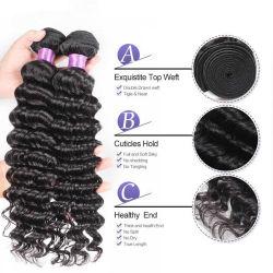 El cabello humano de la India profunda ola paquetes de tejido de cabello natural Remy, máquina de tejer el doble de la trama Extensiones de Cabello sin enredos
