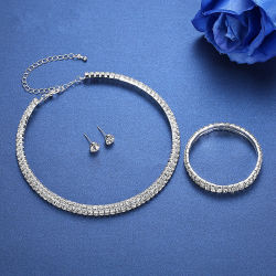 Silberne Farben-Kreiskristallrhinestone-Hochzeits-Schmucksache-Halsketten-Ohrring-Armband-Sets