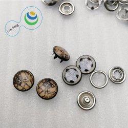 10mm 222# 유리 구슬 인쇄된 진주 견인삭 스냅 단추