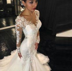 2019 Novo Estilo Sexy Fashion Slim cauda de peixes Lace vestido de casamento