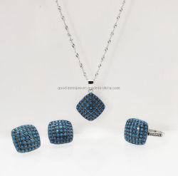 Bijoux en argent ensemble bague bleu turquoise Earring Necklace Mode bijoux