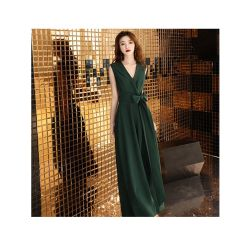 シンプルな設計のセクシーな深緑色のV首の女性イブニング・ドレス