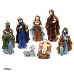 Directa de Fábrica de conjunto de 7 Religiosas de la resina figurita de la Natividad de la decoración del hogar