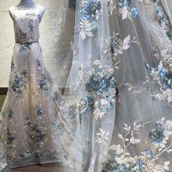 Malla de poliéster de alta calidad de tul bordado de flores de tela de encaje