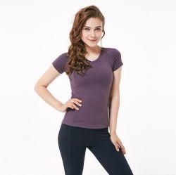 Haute qualité en nylon extensible Dry Fit Les femmes jogging Tops salle de gym Yoga Shirt