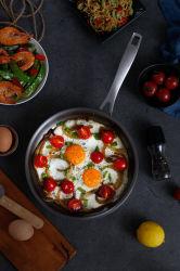 Comida de aço inoxidável de titânio Fry Pan sem tampa para cozinha