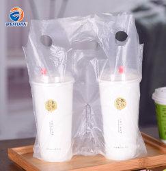 2個のコップのために印刷される紙やすりで磨くテークアウトの包装袋の食糧プラスチックキャリアの習慣