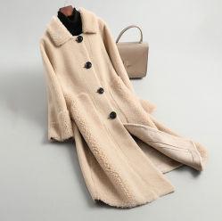 熱い販売の Sheep の Coat の女性の回転の Collar の単一 Breasted プラスのサイズ 女性のためのコートの優雅な sheepskin のコート