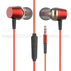 ألعاب رياضية للصوت الجهير الثقيل مع سماعات معدنية سلكية مع ميكروفون سماعة للهاتف المحمول