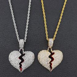 Красный масло сломанных сердце ожерелья и подвесной Silver Iced из цветной кубический циркон очарование цепочка Мужчин Женщин хип-хоп Ювелирные изделия