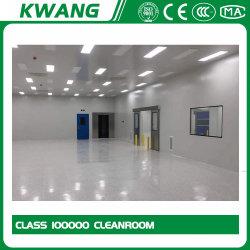 Camera bianca modulare con pareti dure specifiche per progetto, ISO5- ISO9, telaio in acciaio inox grado 304, pannello in vetro temprato