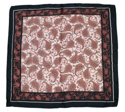 女性の毛のスカーフのNeckerchiefのペーズリープリント赤およびローズピンクカラー古典的な流行のHairbandのフード