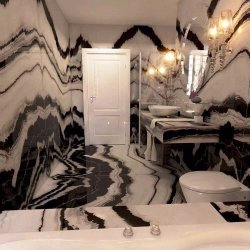 Panda White Marble Stair Marble Bookmatch Slab Wall Douche vloeren