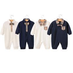 Casual mayorista bebé recién nacido niño Romper Onesie Baje el collar Long-Sleeved algodón ropa para bebés