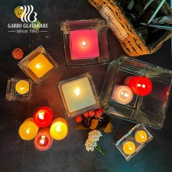 중국 공급업체 투명 광장 유리 촛대 홀더 - 나무 뚜껑 도매