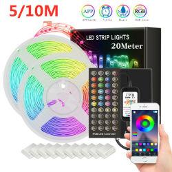 Venda por grosso de Bluetooth mais recentes 5m, 10m de Luz de Trabalho LED Luz decorativa de Natal 5050 SMD LED RGB luz faixa 15m, 20m com 40a chave de Controle Remoto