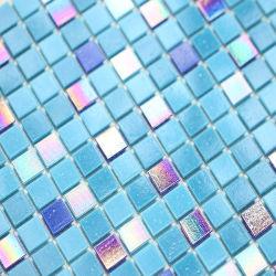 이리데슨트 글래스 모자이크 스퀘어 쉐이프 블루 색상의 모자이크 수영장 욕실 장식 - Ysfgm13