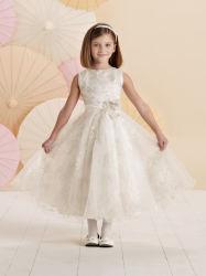 Vintage шампанское кружева цветочного девочек платье для свадьбы Tea-Length линии 10 лет Группа платье