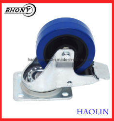 Carrinho de caminhão de mão 100mm 125mm da placa do freio de giro das rodas de borracha azul rodízios pesados