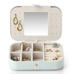 2 lagen dames PU leren Oorbellen Box Travel Jewelry Geval