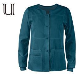 가득 차있는 소매 늑골 소매가 재킷 상단을 를 위한 제거하는 녹색 긴 소매 재킷 여자 뻗기는 의학 재킷을 제거한다