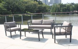 خارجيّة أثاث لازم حديقة فناء [رتّن] [ويكر] ردهة ثبت أريكة مع [كفّ تبل] مستديرة