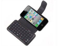 Mini Teclado Bluetooth sem fio portátil e o caso do protector de couro para iPhone 4