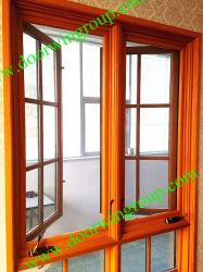 American Style de fenêtre en bois d'aluminium, Wood-Alu modernes fenêtre, double/triple vitrage vitre, et tourner l'américaine standard de la fenêtre d'inclinaison