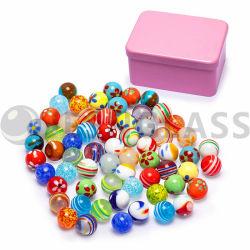 Mármol de vidrio, los niños juguetes, bola de cristal, hechos a mano la bola de estrés tin box