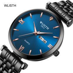 Boutique Mesdames mariage Couple Watchoem montres en acier inoxydable avec montre à quartz tendance Calendrier Double Affaires regarder le commerce de gros