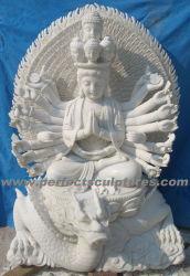 Statue du Bouddha de marbre pierre Kwan Yin pour le Feng Shui (sy-T142)