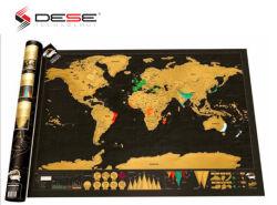 """32.5世界地図を離れた"""" X 23.4 """"スクラッチ、が付いている旅行スクラッチマップポスター米国および国旗(黒い世界地図)"""