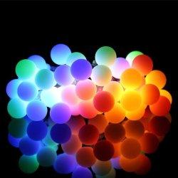 Bola de color blanco lechoso de cadena 8 modos de la cuerda del Panel Solar de la casa de la puerta de hadas Powered Jardín de Luz LED para exteriores de Navidad