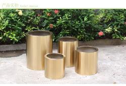 Flowerpots inossidabili d'acciaio del giardino dell'hotel della pittura di colore dell'oro